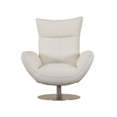 Charlie Contemporary White Leather Lounge Chair