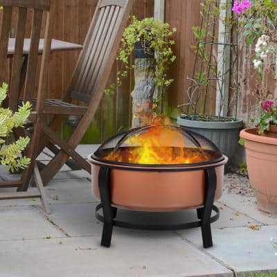 """29.75"""" W x 25.5"""" H Copper-Colored Round Basin Wood Fire Pit Bowl with Black Base, Wood Poker, and Mesh Screen for Embers"""