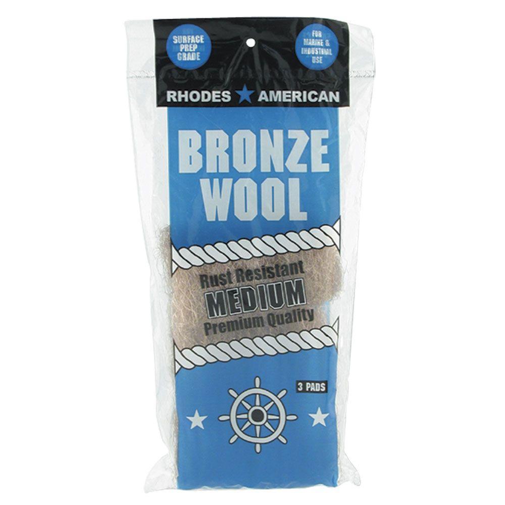 Medium Grade Bronze Wool Pads (3-Pack)