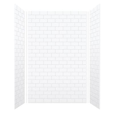 SaraMar 36 in. x 60 in. x 96 in. 3-Piece Easy Up Adhesive Alcove Shower Wall Surround in White
