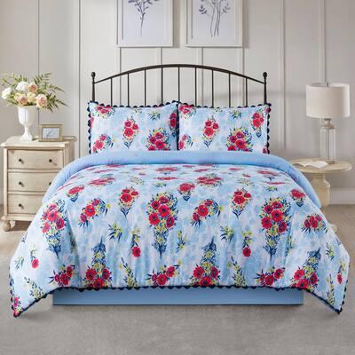 Floral Bouquet 4-Piece Blue Microfiber Full/Queen Quilted Comforter Set