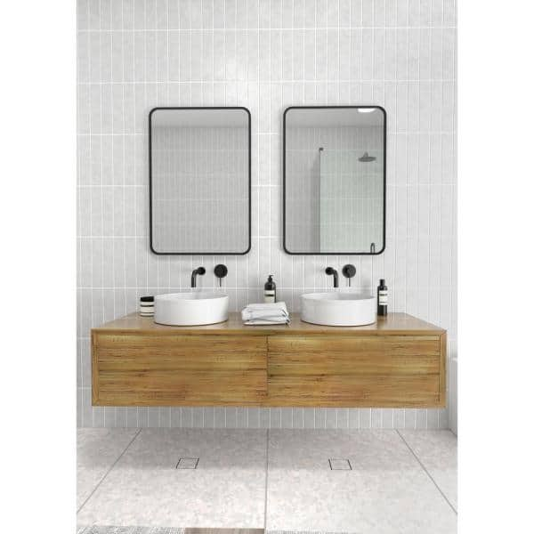 Glass Warehouse 22 In W X 32 In H Framed Square Bathroom Vanity Mirror In Black Mf Sqr 32x22 B The Home Depot