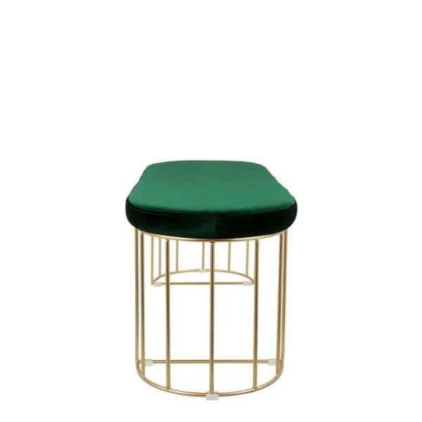 Lumisource Canary Green Velvet With Gold Dining Entryway Bench Bc Cnry Au Gn The Home Depot