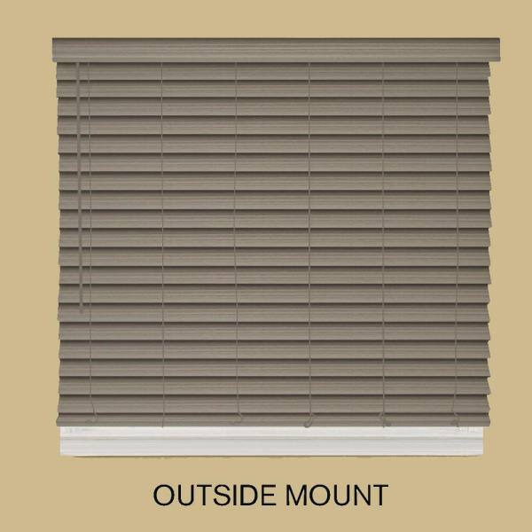 Home Decorators Collection Driftwood Gray Cordless Room Darkening 2 5 In Premium Faux Wood Blind For Window 21 5 In W X 64 In L 10793478381197 The Home Depot