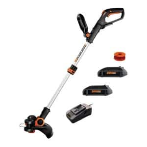 POWER SHARE 20-Volt 12 in Max Lithium-Ion Cordless Grass Trimmer/Edger with Two 2.0 Ah Batteries and One 2 Amp Charger