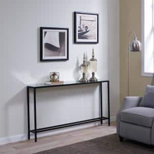 Quenn 56 in. Gunmetal Gray Standard Rectangle Mirrored Console Table