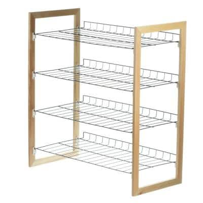 4-Tier 18-Pair Wood and Metal Accessory Shoe Organizer