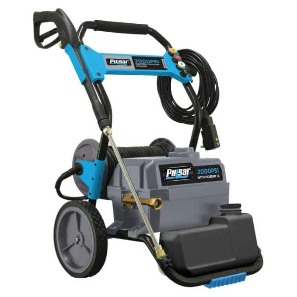 Pulsar 2 000 Psi 1 6 Gpm Electric Pressure Washer With Hose Reel And Built In Soap Tank Pwe2019 The Home Depot