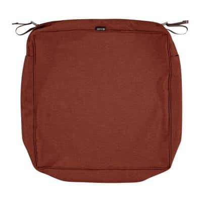 Montlake FadeSafe 21 in. W x 21 in. D x 5 in. H Square Patio Lounge Seat Cushion Slip Cover in Heather Henna Red