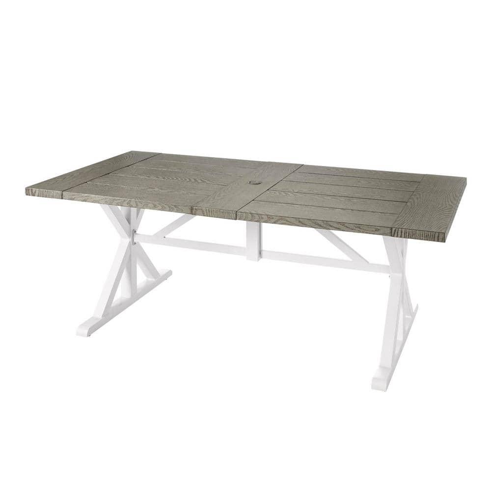 hampton bay beacon park gray rectangular farmhouse steel outdoor patio dining table fts61192g the home depot