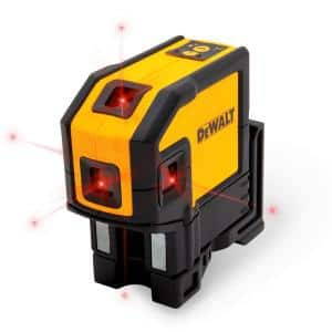 165 ft. Red Self-Leveling 5-Spot & Horizontal Line Laser Level with (3) AA Batteries & Case