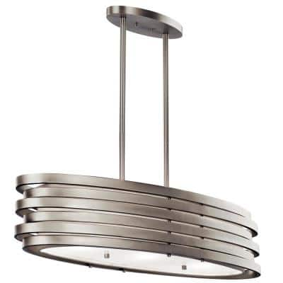 Roswell 3-Light Brushed Nickel Oval Chandelier with Metal Shade