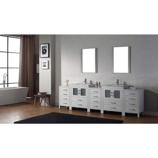 Virtu Usa Dior 110 In W Bath Vanity In White With Ceramic Vanity Top In White With Square Basin And Mirror And Faucet Kd 700110 C Wh The Home Depot
