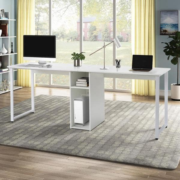 Gzmr White Double Workstation Desk Design Home Office 2 Person Computer Desk With Storage Cubes Sel 482aak The Home Depot