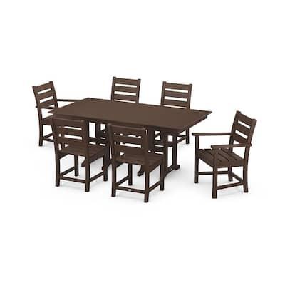 Grant Park Mahogany 7-Piece Plastic Rectangular Dining Outdoor Patio Set