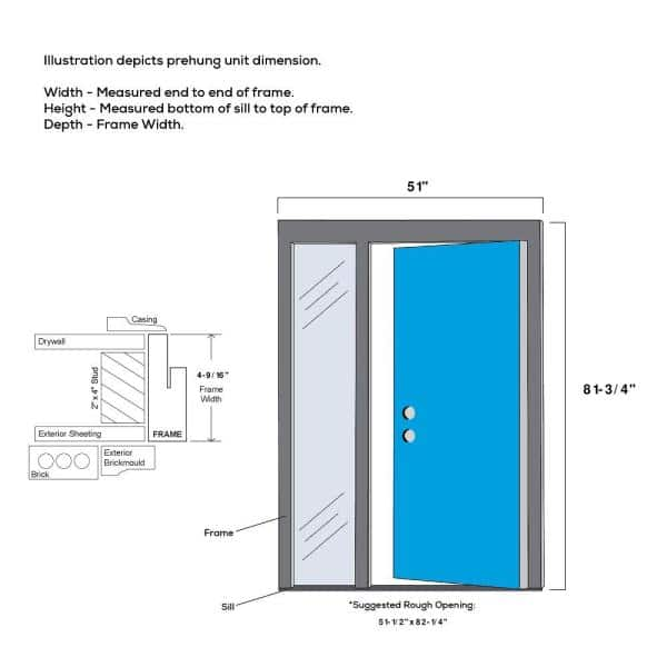 Mmi Door 51 In X 81 75 In Celeste Clear Low E Glass Right Hand 4 Lite Eclectic Painted Steel Prehung Front Door With Sidelite Z0350968r The Home Depot
