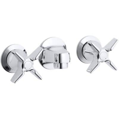 Triton Commercial 2-Handle Wall Mount Commercial Bathroom Faucet with Low-Arc in Polished Chrome