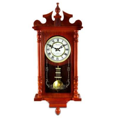 25 Inch Wall Clock with Pendulum and Chime in Dark Redwood Oak Finish
