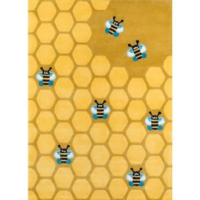 Caprice Honeycomb Gold 8 ft. x 10 ft. Indoor Area Rug