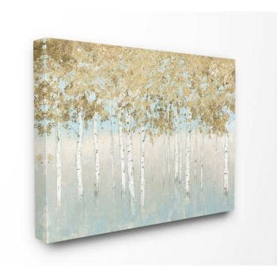 """36 in. x 48 in. """"Abstract Gold Tree Landscape Painting"""" by James Wiens Canvas Wall Art"""