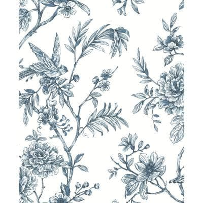 Jessamine Blue Floral Trail Paper Strippable Roll Wallpaper (Covers 56.4 sq. ft.)