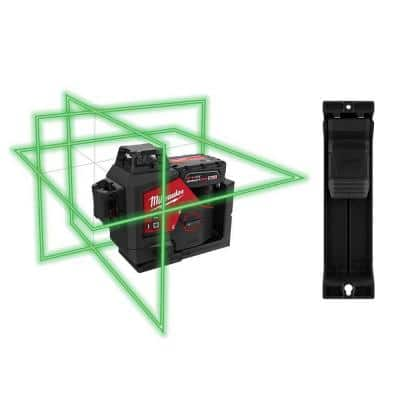 M12 12-Volt Lithium-Ion Cordless Green 250 ft. 3-Plane Laser Level Kit w/One 4.0 Ah Battery, Charger, Case & Track Clip
