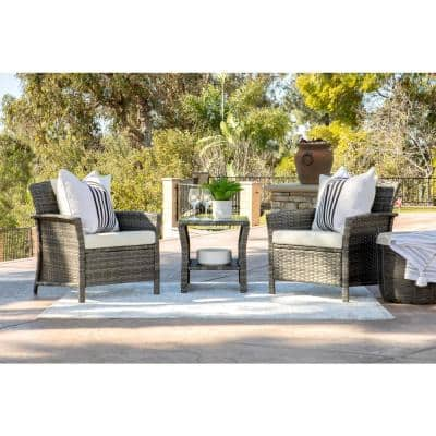 Tanner Gray 3-Piece Wicker Square Outdoor Bistro Set with Off White Cushions