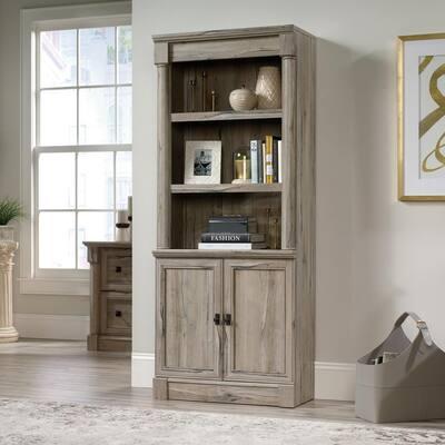 71.85 in. Split Oak Wood 5-shelf Standard Bookcase with Doors
