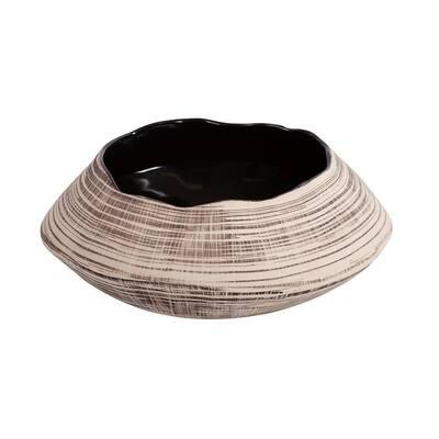 Freeform Neutral Striped Ceramic Bowl