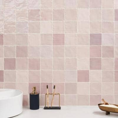 Kingston Pink 4 in. x 4 in. Polished Ceramic Wall Tile (5.38 sq. ft./case)