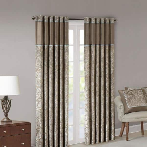 Madison Park Blue Brown Jacquard Rod Pocket Room Darkening Curtain 50 In W X 108 In L Set Of 2 Mp40 2679 The Home Depot
