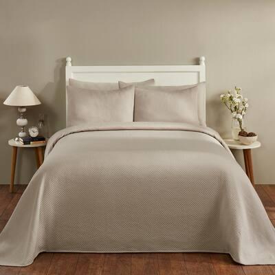 Sophia 3-Piece Tan Queen Diamond Design Bedspread Set