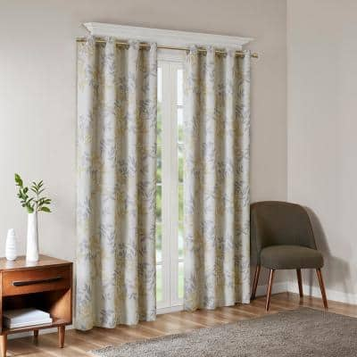 April Yellow Blackout Printed Botanical Grommet Window Curtain Panel 50 in. W x 84 in. L