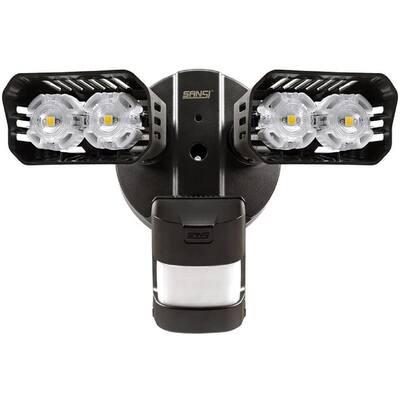 18-Watt 1800 Lumens 5000K Black Motion Activated Integrated LED Outdoor Flood Light
