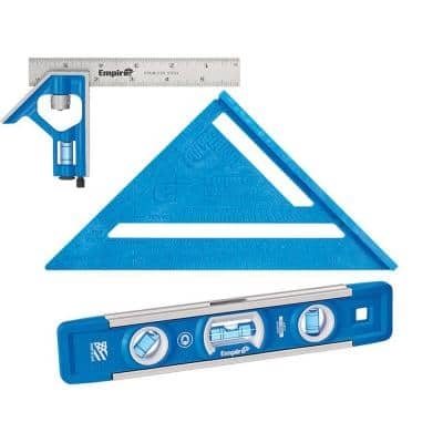 6 in. Pocket Combination Square and 7 in. Polycast Rafter Square with 9 in. True Blue Professional Torpedo Level