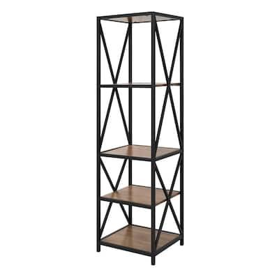 61 in. Barnwood/Black Metal 4-shelf Etagere Bookcase with Open Back