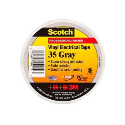 Scotch 3/4 in. x 66 ft. Gray Vinyl Electrical Color Coding Tape