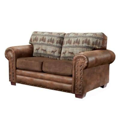 Deer Teal Lodge 67 in. Brown Pattern Microfiber 2-Seater Loveseat with Removable Cushions