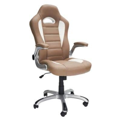 Camel High Back Executive Sport Race Office Chair with Flip-Up Arms