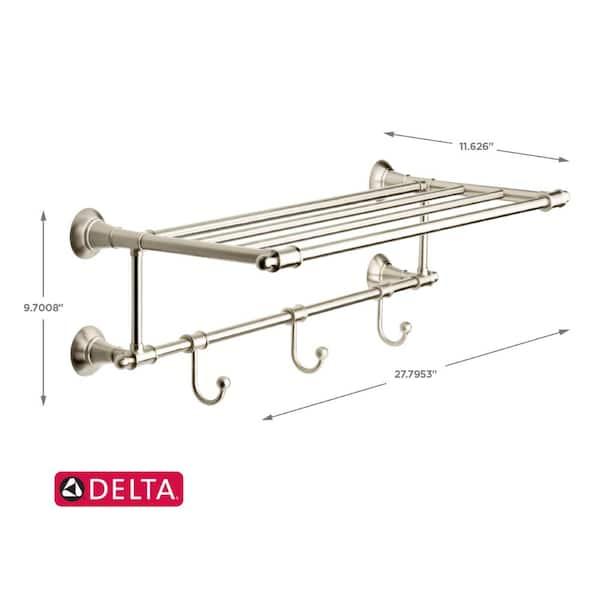 Delta 24 In W Towel Shelf With 3 Towel Hooks In Brushed Nickel Hextn32 Bn The Home Depot
