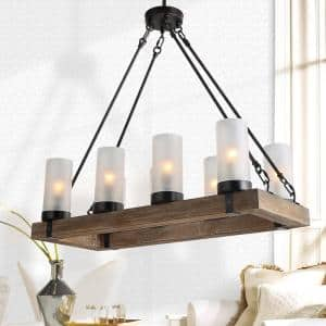 Farmhouse Kitchen Linear Wood Chandelier 8-Light Black Island Pendant with Rusty Metal Finish and Frosted Glass Shades