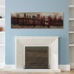 22 in. x 72 in. ''Bridge to the City 1'' by EAD Art Coop Mixed Media Iron Hand Painted Dimensional Wall Art