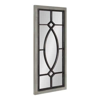 Bakersfield 30 in. x 13 in. Classic Rectangle Framed Gray Wall Accent Mirror