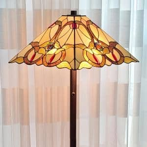 63 in. Multicolored Tiffany Style Mission Amber Floor Lamp