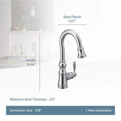 Weymouth Single-Handle Pull-Down Sprayer Bar Faucet in Brushed Gold