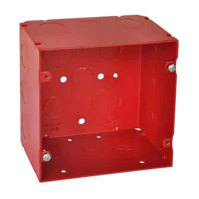 2-Gang 5 in. New Work Red Metal Square Electrical Box with CV Bracket (20 per Case)