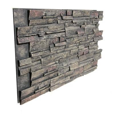 Stack Stone 48 in. x 24.25 in. Polyurethane Interlocking Siding Panel Finished in Volcanic Ash