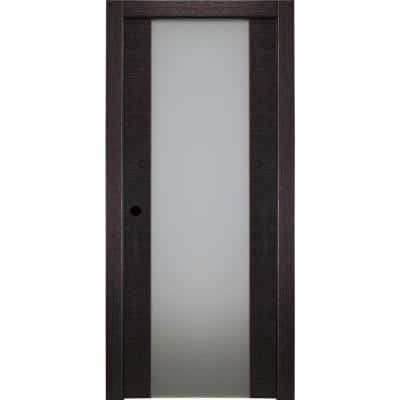32 in. x 80 in. Avanti 202 Black Apricot Right-Hand Solid Core Wood 1-Lite Frosted Glass Single Prehung Interior Door