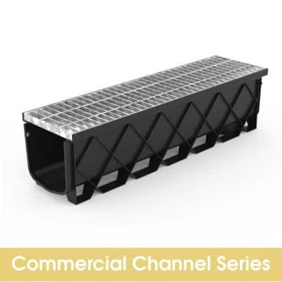 Pro 10.75 in. x 40 in. Deep Channel Drain with Class B Steel Grate