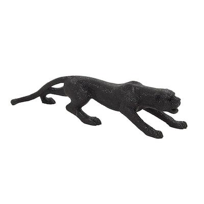 Black Polystone Glam Leopard Sculpture